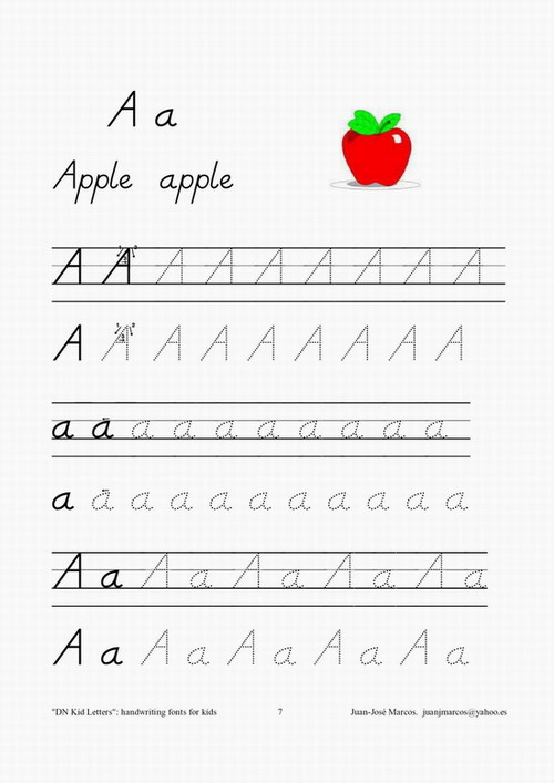 Handwriting fonts for teaching children to write. D'Nealian school ...