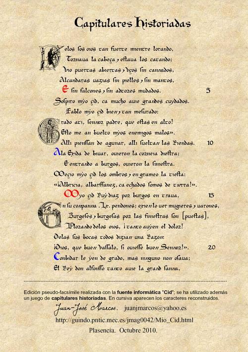 Cantar De Mio Cid Letra Del Manuscrito Paleografía Del Códice Caballero Zifar